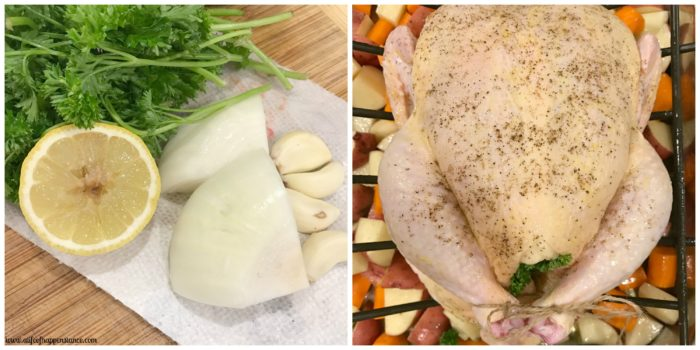 A 2 picture collage. Picture on the left is of onions, garlic, lemon, and parsley on a cutting board. Picture on the right is of a prepared whole chicken in a roasting pan.