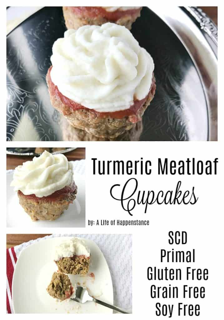 Meatloaf cupcakes are a kid-friendly comfort food that cooks much faster than a traditional meatloaf! This dish is filled with anti-inflammatory spices like turmeric and fresh ginger. This easy dinner is SCD, Paleo, Whole30, gluten free, grain free, dairy free, and soy free.
