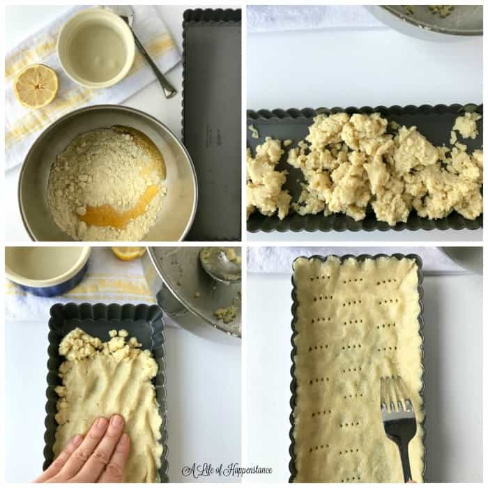 Collage of four photos showing how to make the almond flour tart crust. Top left photo is of the ingredients. Top right photo shows the almond flour dough in the tart pan. Bottom left photo shows how to press the dough into the tart pan. Bottom right photo shows the almond flour dough pressed into the pan and a fort poking holes into it.