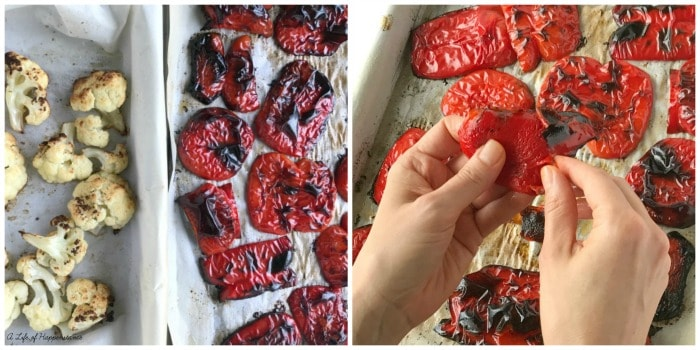 A two photo collage. Photo one, the roasted cauliflower and roasted red pepper on baking sheets. Photo two, hands removing the skin off of the pieces of roasted red pepper.