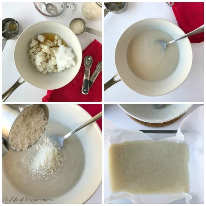 Collage of four photos showing the process of making the fudge. Tope left, all ingredients in a bowl. Top right, all ingredients melted together and smooth. Bottom left, pouring in the shredded coconut. Bottom right, the fudge mixture in a baking dish.