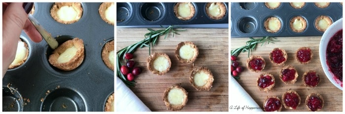 Three photo collage. The first photo is removing the tartlets from the pan. The second photo is the tartlets on a cutting board. The last photo are the tartlets filled with cranberry sauce.