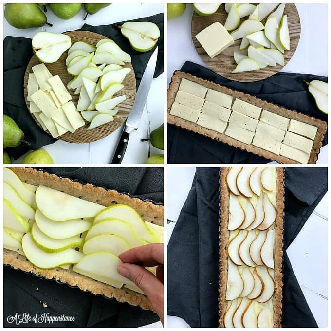 A four picture collage showing how to assemble the pear almond tart. Top left picture, sliced pears and havarti cheese on a cutting board. Top right picture, the cheese placed inside the tart crust. Bottom left picture, arranging the sliced pears on the tart. Bottom right picture, the baked tart.