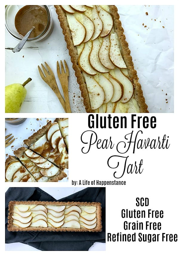 This pear almond tart is an easy, rustic dessert that's full of flavor! The crumbly almond flour crust holds melted havarti cheese and sweet, ripe pears. The tart is then drizzled with a cinnamon honey sauce for the ultimate indulgence. This gluten free pear tart is also grain free and refined sugar free. It follows the specific carbohydrate diet (SCD). #falldessert #almondflour #tart #glutenfreedessert #grainfreedessert #refinedsugarfree #peartart
