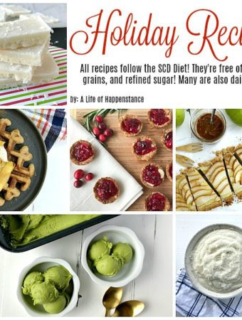 Easy holiday recipes that follow the SCD diet. All recipes are gluten free, grain free, and refined sugar free. Many are also dairy free!