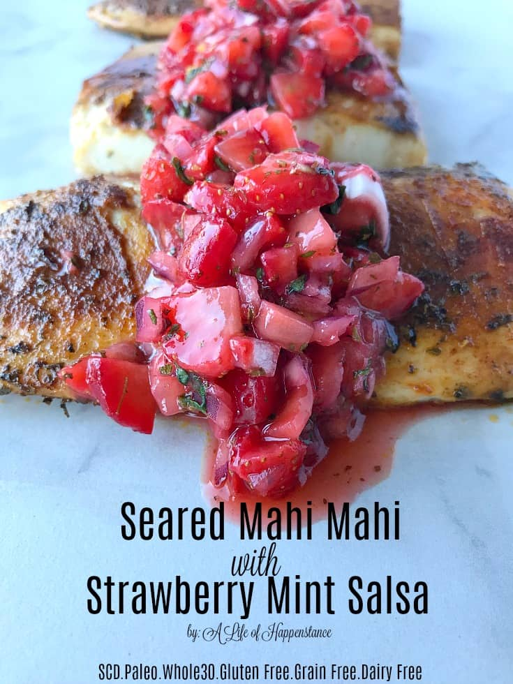 This quick and simple fish recipe cooks in under 10 minutes and is incredibly flavorful! The combination of warm, earthy spices and fresh strawberry salsa is not only healthy but satisfying as well. This is a perfect meal to enjoy all spring and summer long! It's SCD, Paleo and Whole 30! Gluten free, grain free and dairy free.