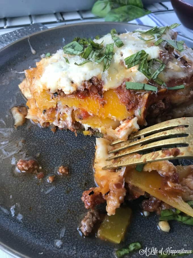 A close up of a slice of the noodle-less butternut squash lasagna recipe.