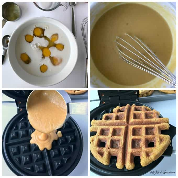 Four picture collage. 1. Ingredients in a white bowl. 2. batter is whisked and smooth in a white bowl. 3. Batter being poured into a waffle maker. 4. Cooked waffle being removed from the waffle maker.