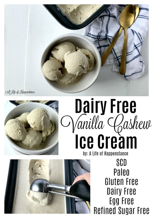 Dairy Free Vanilla Cashew Ice Cream - This vanilla dairy free ice cream is only 5 ingredients AND it's no churn, which means you don't need an ice cream machine to make it! The base for this ice cream is coconut milk, while cashews add to the creamy texture. It follows the specific carbohydrate diet (SCD) and is Paleo!