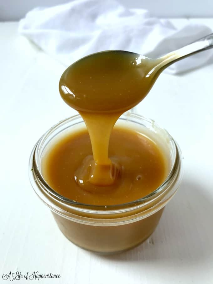 A small jay of paleo salted caramel sauce.