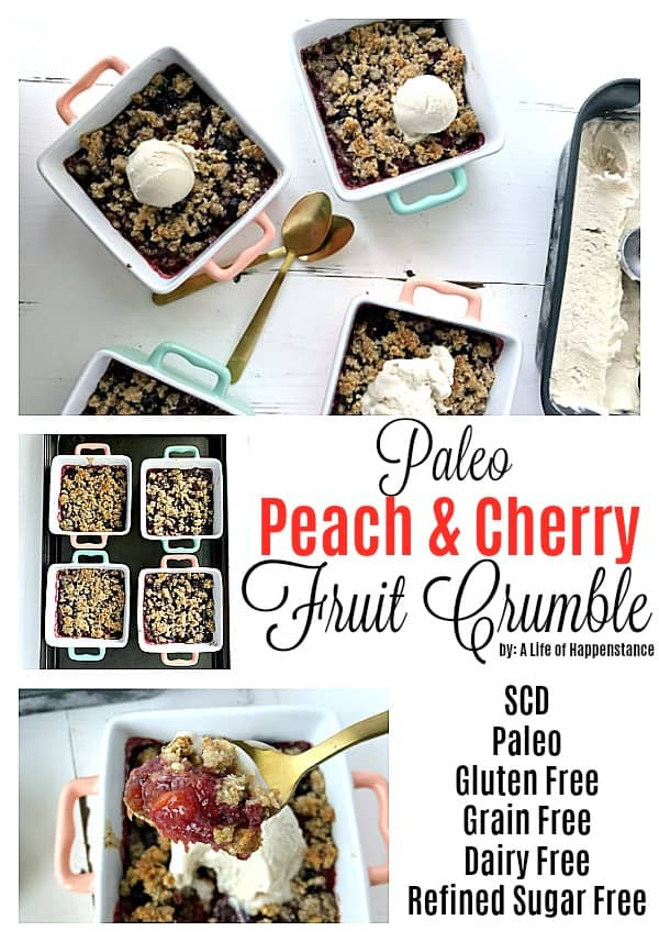 This easy fruit crumble is a mouthwatering combination of fresh peaches and cherries! The gluten free and grain free crumble topping is made of nuts, shredded coconut, and honey. This SCD and Paleo friendly dessert recipe is perfect for summer!