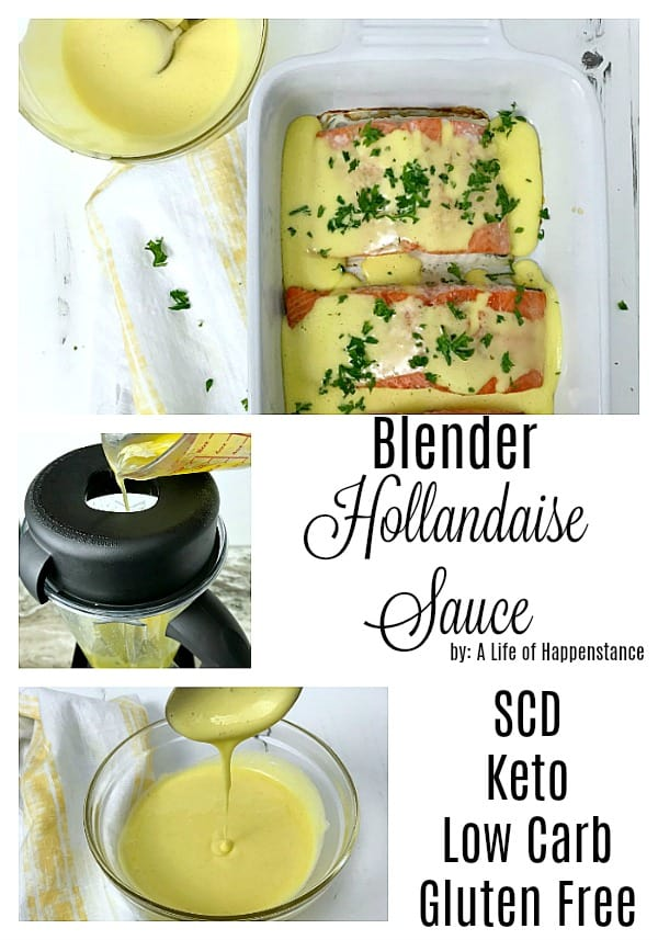 This quick hollandaise sauce recipe is made in the blender and takes no more than 6 minutes to make! It is creamy, rich, and perfect for elevating any meal. Use it to drizzle on veggies, salmon, chicken, steak, or eggs! This recipe is SCD, keto, low carb and gluten free! #easysauce #glutenfree #scd #keto #lowcarb #saucerecipe #hollandaisesauce #blendersauce