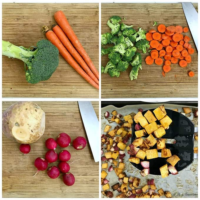 A four picture collage. Top left picture is a head of broccoli and three carrots on a cutting board. Top right picture is broccoli florets and carrots chopped into equal sized pieces. Bottom left picture is a rutabaga and radishes on a cutting board. Bottom right picture is roasted rutabaga and radishes chopped into equal size pieces.