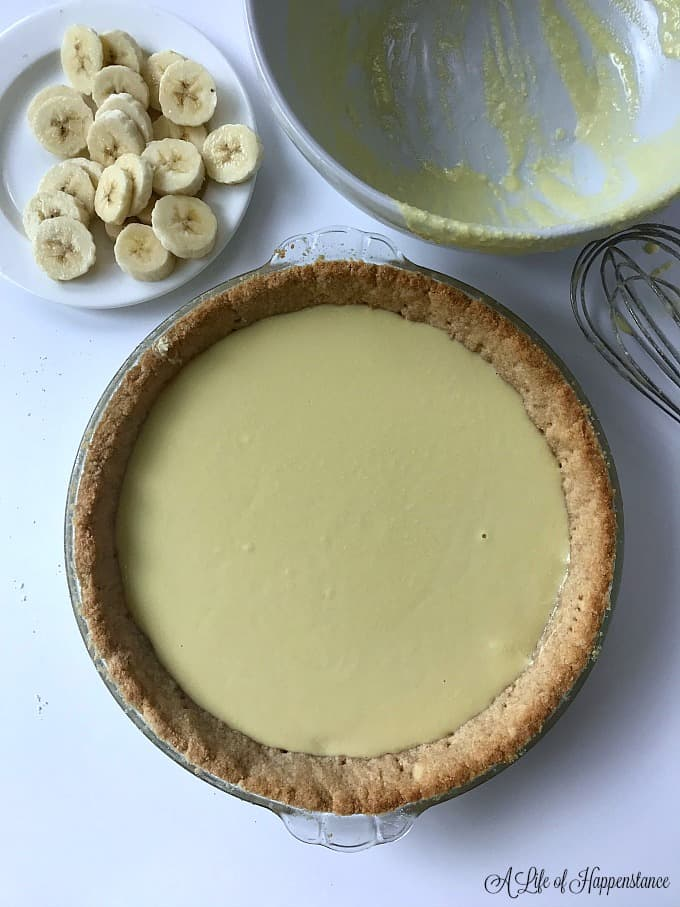 The gluten free almond flour pie crust filled with the refined sugar free and dairy free pastry cream.