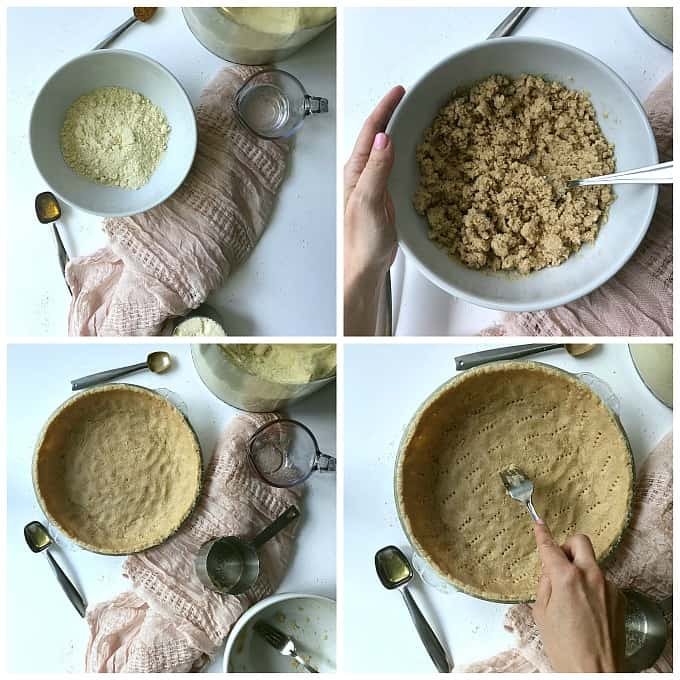 A collage of how to make an almond flour pie crust. Top left picture, all ingredients on a white table. Top right picture, all ingredients combined in a white bowl. Bottom left picture, the gluten free crust pressed into the pie pan. Bottom right picture, Using a fork to prick holes in the almond flour pie dough.