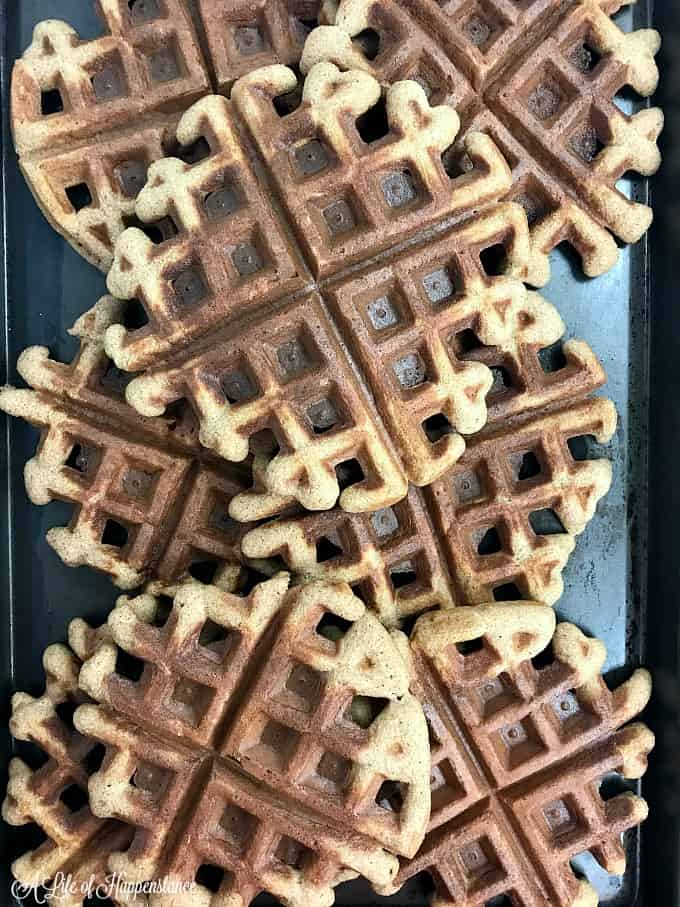 A tray filled with grain free spice waffles.