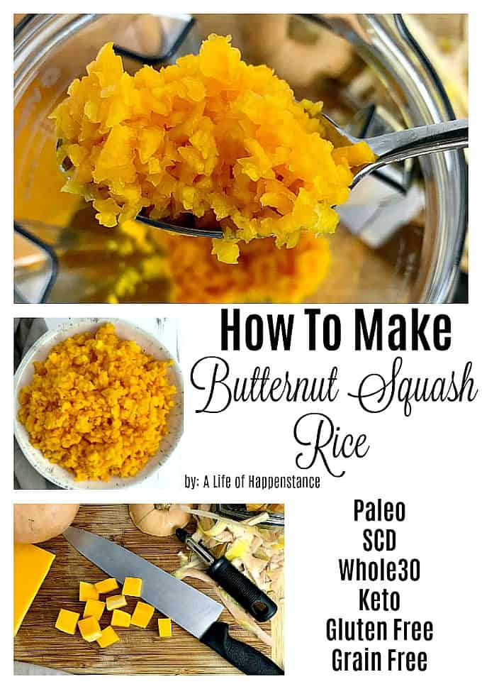 Turning a butternut squash into rice is an easy and delicious low carb alternative to traditional rice! Butternut squash rice is naturally grain free!