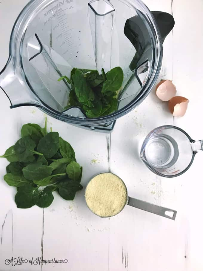 The ingredients for green pancakes.