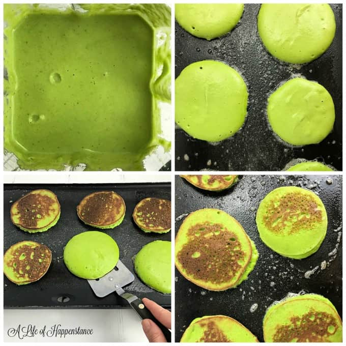 A four picture collage. Top left, green pancakes better in a blender. Top right picture, pancakes cooking on a griddle. Bottom left picture, flipping the green pancakes. Bottom right picture, spinach pancakes cooking on the griddle.