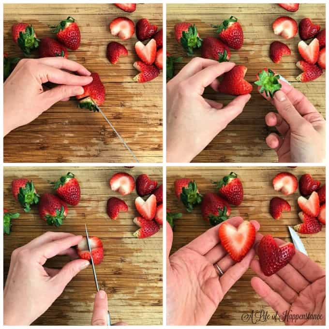 A collage of how to make strawberry hearts.