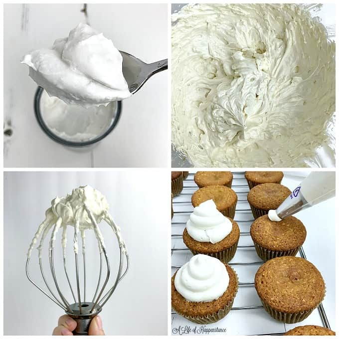 A 4 photo collage showing how to make the coconut icing. Top left, a scoop of coconut cream. Top right, the icing whipped together in a large bowl. Bottom left, a large whisk holding up the icing. Bottom right, pipping the coconut icing onto the gluten free coconut cupcakes.
