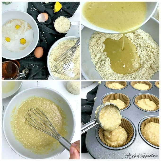 A four photo collage. Top left, all the ingredients needed to make the coconut cupcakes. Top right, pouring the wet ingredients into a bowl full of the dry ingredients. Bottom left, whisking the ingredients together. Bottom right, scooping the batter into a lined muffin pan.