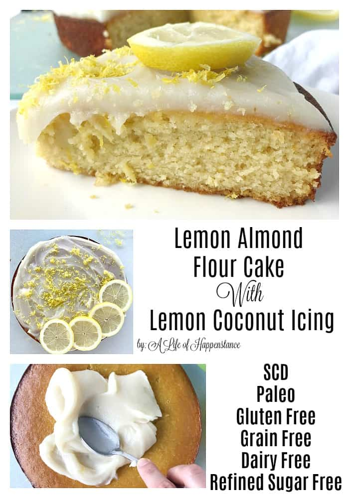 A fluffy and moist almond flour cake flavored with fresh lemons. The frosting is a creamy, dairy free blend of coconut butter, honey, and lemons. This easy Paleo dessert is also SCD legal. It's gluten free, grain free, dairy free, and refined sugar free.