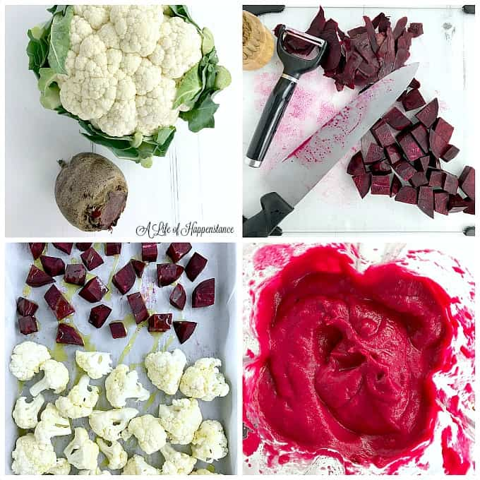 A four photo collage of how to make beet sauce. Top left photo is a head of cauliflower and a beet on a white table. Top right photo is chopped beets. Bottom left photo is chopped cauliflower and beets on a baking sheet. Bottom right photo is roasted beetroot sauce in a blender.