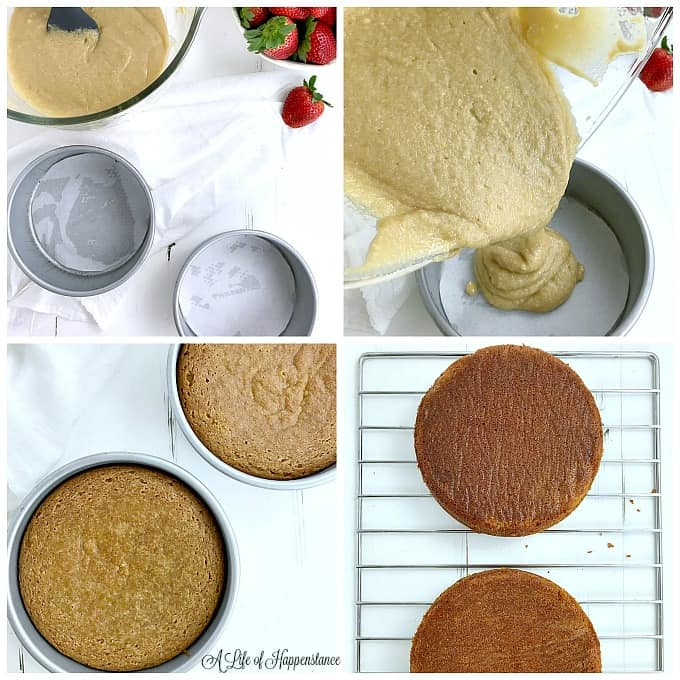 Four picture collage of making the strawberry cake. Top left picture, two greased and lined cake pans and a bowl of batter. Top right corner, pouring the batter into the cake pans. Bottom left picture, the baked cakes in the pans. Bottom right picture, the strawberry cakes cooling on a baking rack.