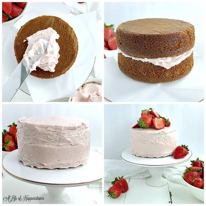 Four picture collage of assembling the strawberry almond flour cake. Top left picture, spreading frosting on the bottom layer of cake. Top right picture, the cakes stacked on top of each other with frosting between them. Bottom left picture, a frosted strawberry cake. Bottom right picture, the strawberry almond flour cake garnished with strawberries.