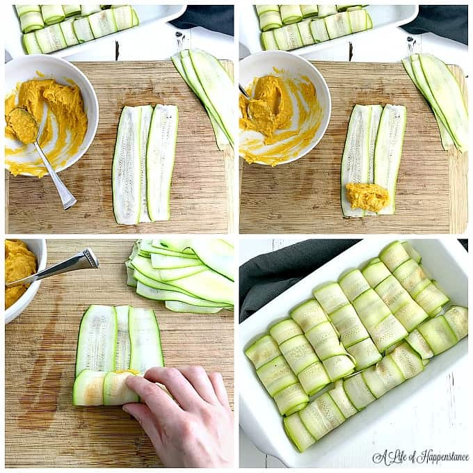 A four picture collage showing how to make and roll the zucchini cannelloni. Top left picture has three zucchini ribbons on a cutting board overlapping slightly. Top right picture has a dollop of butternut squash filling at the bottom of the zucchini ribbons. Bottom left picture shows how to roll the zucchini cannelloni. Bottom right picture has all of the cannelloni in a white baking dish.