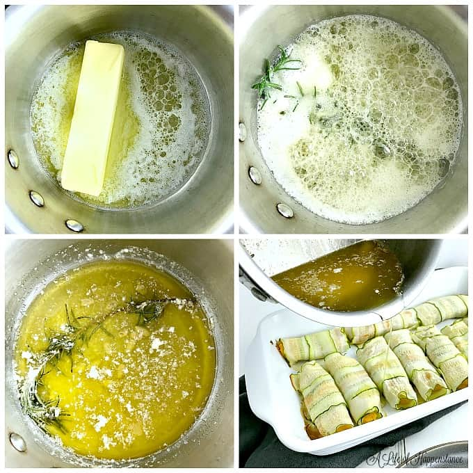A four picture collage showing how to make the brown butter rosemary sauce. Top left picture, a stick of butter melting in a saucepan. Top right picture, the butter foaming around a sprig of rosemary. Bottom left picture, the brown butter sauce removed from the heat. Bottom right picture, pouring the brown butter rosemary sauce over the baked cannelloni.