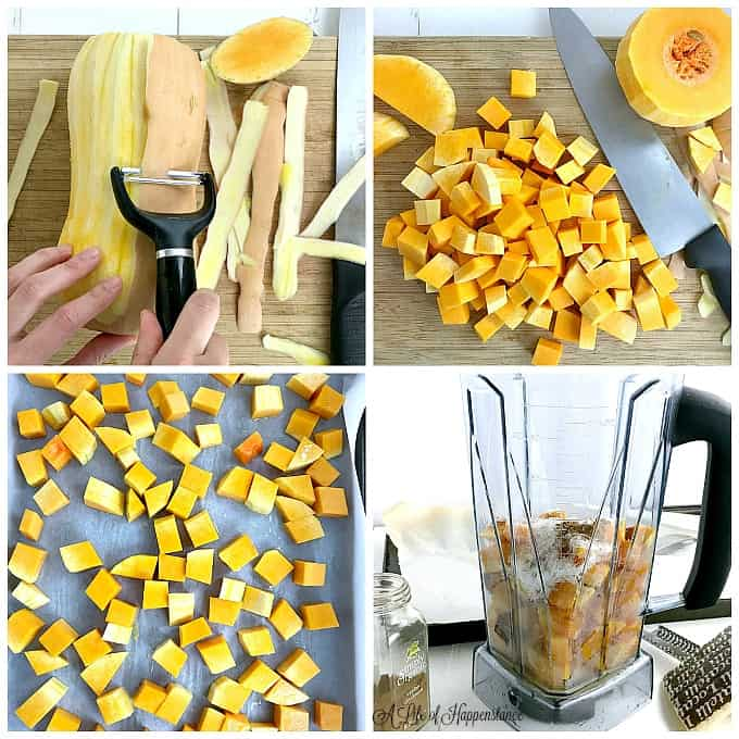 A four picture collage showing how to make the butternut squash filling. Top left picture, peeling a butternut squash. Top right, cubed butternut squash on a cutting board. Bottom left, cubed squash on a baking tray ready to go into the oven. Bottom right, all the ingredients for the filling in a blender.