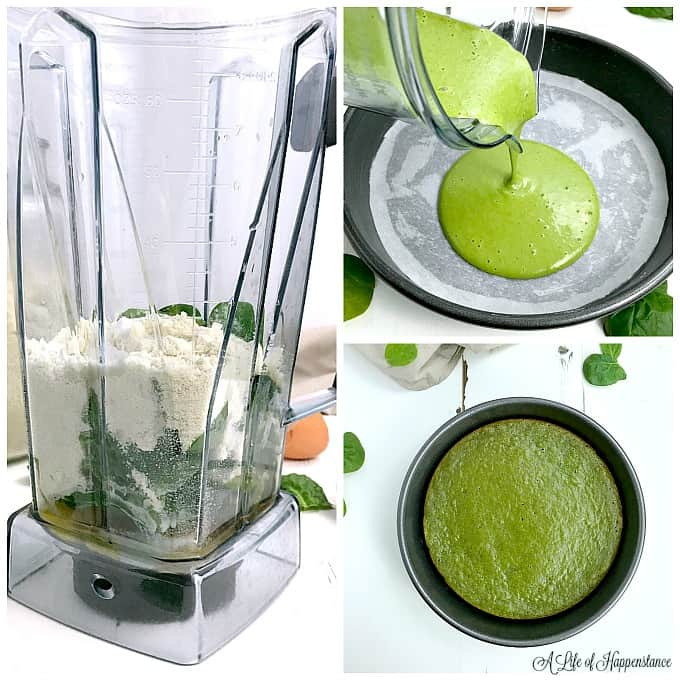 Three photo collage showing how to make the green cake. Large photo on the left shows all the ingredients in the jar of a blender. Top right photo; the green batter being poured into a baking dish. Bottom right photo, the baked almond flour vanilla cake still in the baking dish.