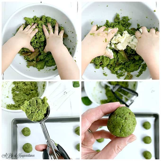 Four photo collage. Top left photo, hands crumbling the green almond flour cake. Top right photo, hands mixing the white frosting into the green cake. Bottom left photo, a mini ice cream scoop filled with the cake mixture. Bottom right photo, holding a ball of almond flour vanilla cake.