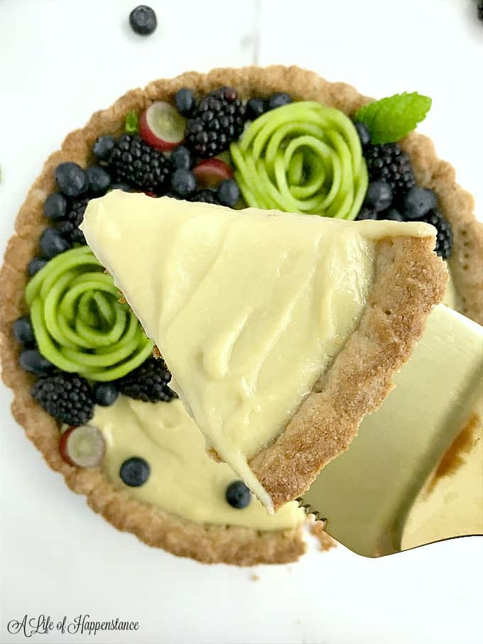 A slice of vanilla custard tart.