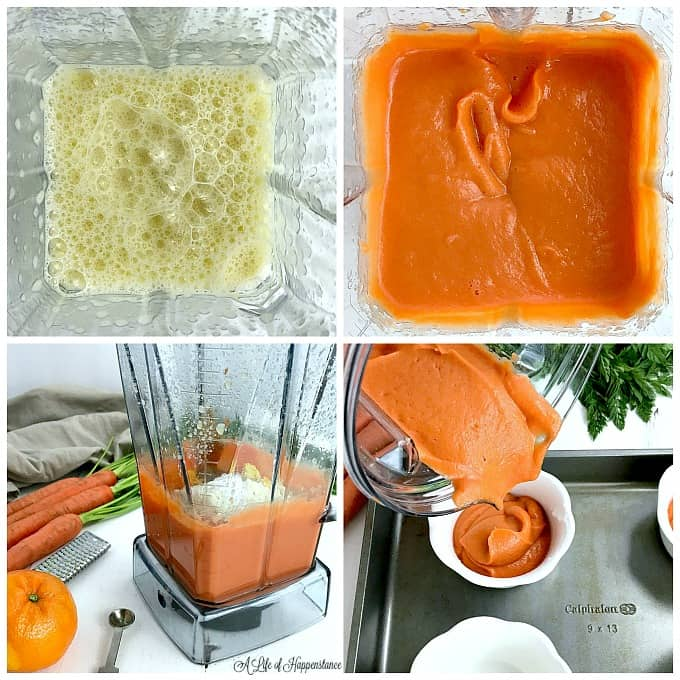 Four photo collage showing how to make a paleo carrot souffle recipe. Top left photo shows eggs frothy in a blender. Top right photo is of blended carrots and eggs in a blender. Bottom left photo is of almond flour in a blender. Bottom right photo is of pouring the carrot souffle batter into white ramekins.