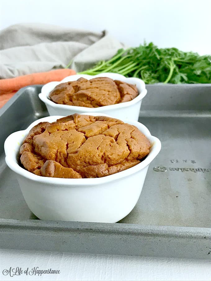 A side view of the paleo carrot souffle recipe.