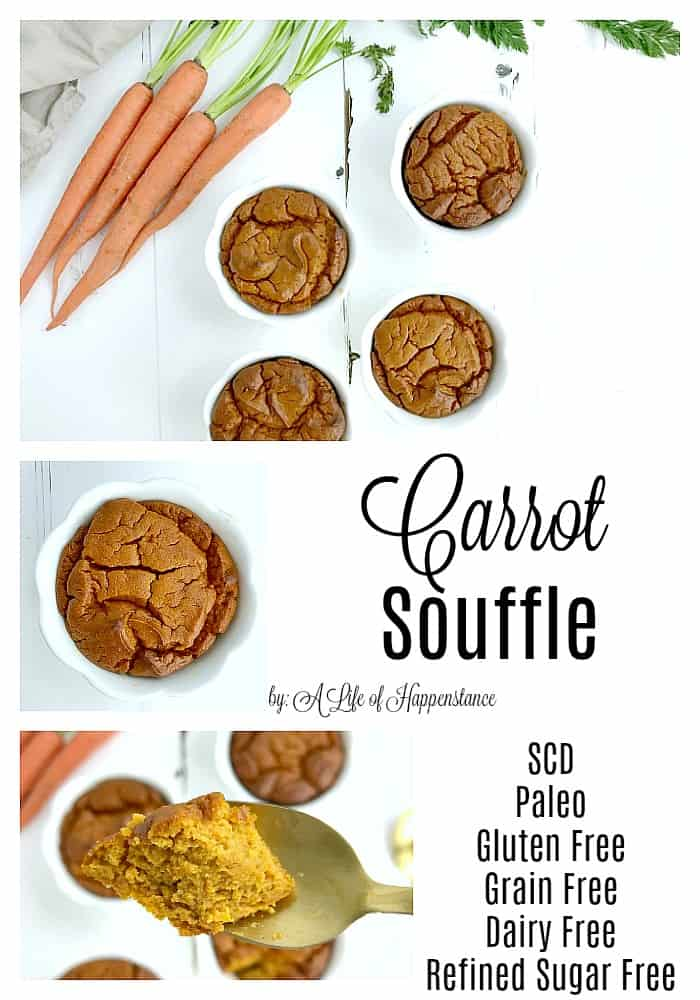 This easy carrot souffle recipe is a healthy side dish that's a perfect spring recipe or to serve on Easter. This is a simple Paleo and SCD recipe that's gluten free, grain free, dairy free, and refined sugar free.