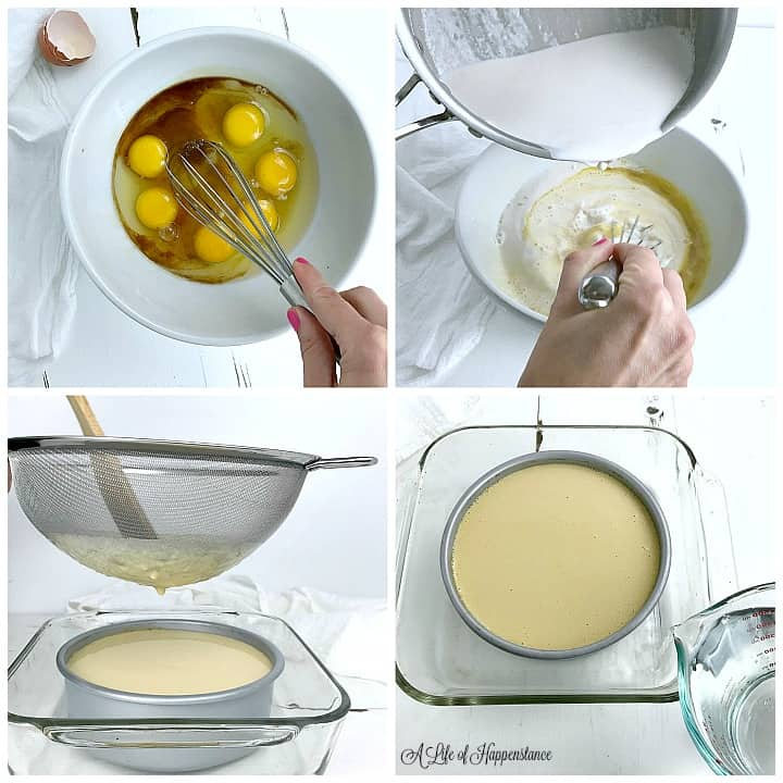 A four photo collage showing how to make a dairy free flan. Top left photo, Whisking the eggs, honey, and vanilla extract in a white bowl. Top right photo, pouring hot almond milk into the bowl with the egg mixture. Bottom left photo, straining the custard through a sieve into a cake pan. Bottom right photo, preparing the water bath.