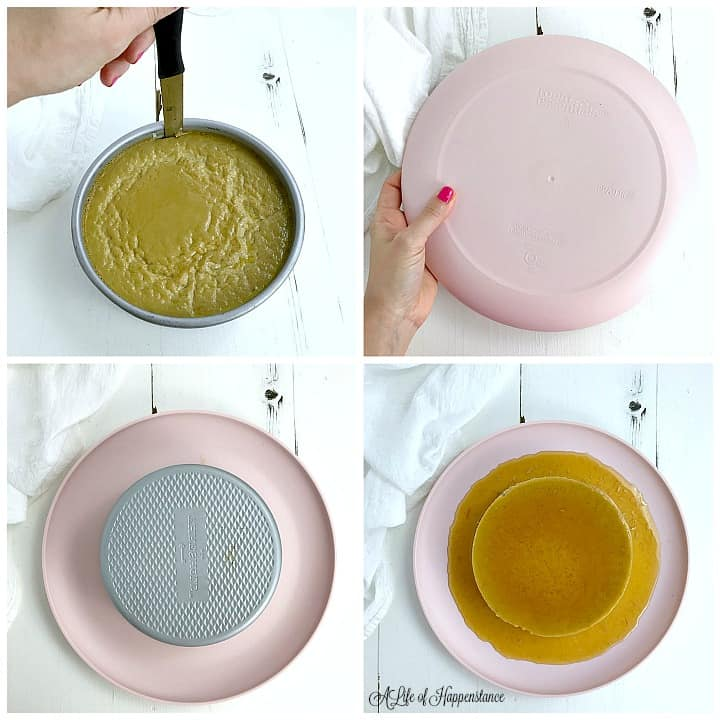 A four photo collage showing how to invert the dairy free flan. Top left, unmolding the flan from the cake pan with a sharp knife. Top right photo, a pink plate on top of the cake pan. Bottom left photo, flipping the cake pan and pink plate over. Bottom right photo, the unmolded flan on the pink plate.