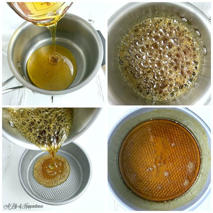 A four photo collage showing how to make honey caramel sauce. Top left photo, pouring honey into a small saucepan. Top right photo, the honey bubbling and hot in the saucepan. Bottom left photo, pouring the honey caramel into a cake pan. Bottom right photo, the honey caramel sauce on the bottom and sides of the cake pan.