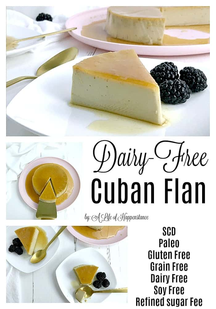 This dairy free flan recipe (also known as creme caramel) uses a base of almond milk and a delicious honey caramel sauce for a healthy take on a traditional Cuban dessert. This flan recipe is gluten free, grain free, dairy free, and refined sugar free.