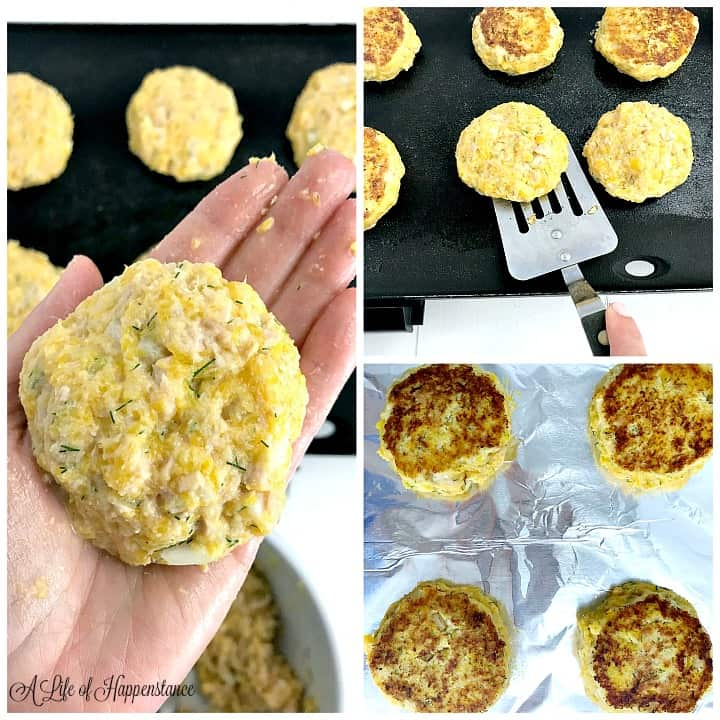 Left photo, a hand holding a raw tuna cake. Top right photo, flipping tuna cakes on a black griddle. Bottom right photo, paleo tuna cakes on an aluminum lined baking sheet.