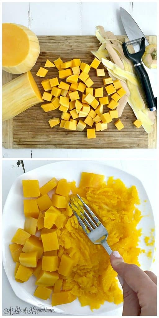 Top picture is of cubed butternut squash on a wood cutting board. Bottom picture is of mashing the butternut squash with the back of a fork.