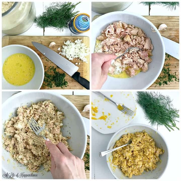 A four photo collage. Top left photo, a white bowl with eggs and a cutting board with diced onions and chopped dill. Top right photo, using a fork to break up large pieces of tuna. Bottom left photo, mixing the tuna into the eggs. Bottom right photo, the tuna mixed with the butternut squash.