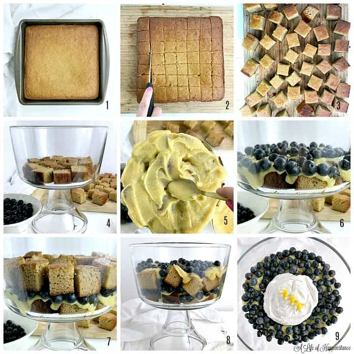 An eight photo collage showing how to assemble the gluten free trifle. Photo one is the baked almond flour cake in a cake pan. Photo two shows a hand holding a knife cutting the cake into one inch squares. Photo three shows the cake squares on a brown cutting board. Photo four shows the bottom of the trifle dish with a layer of cake squares. Photo five shows paleo lemon curd being spread on the cake squares. Photo six  shows fresh blueberries on top of the lemon curd. Photo seven shows a second layer of almond flour cake on top of the blueberries. Photo eight shows a second layer of lemon curd and blueberries. Photo nine is on overhead shot of the completed lemon blueberry trifle with whipped coconut cream on top.
