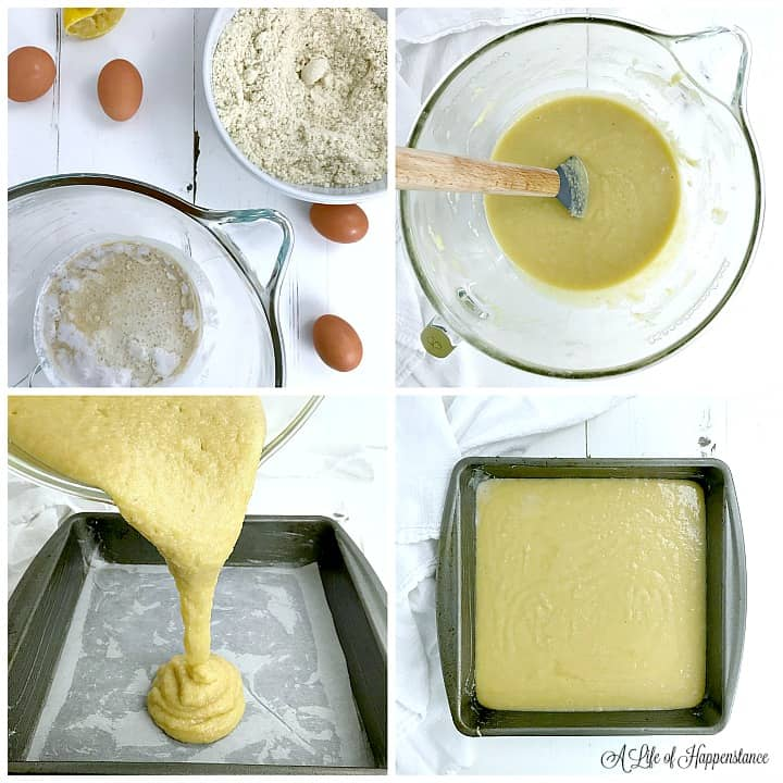 A four photo collage. Top left photo shows the ingredients needed to make the almond flour cake. Top right photo is of the combined almond flour cake batter in a glass mixing bowl. The bottom left photo shows the cake batter being poured into a parchment paper lined and greased baking pan. Bottom right photo is of the cake batter in the 8x8 baking pan.