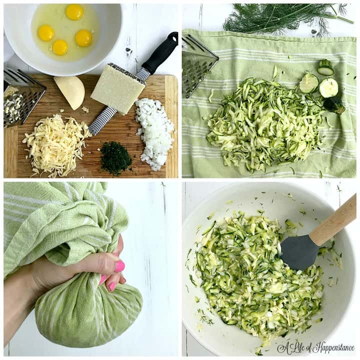 A photo collage. Top left photo, all the ingredients needed in a white bowl and wood cutting board. Top right photo, shredded zucchini on a green kitchen towel. Bottom left photo, green kitchen towel around the shredded zucchini. Bottom right photo, the zucchini mixture in a white bowl.