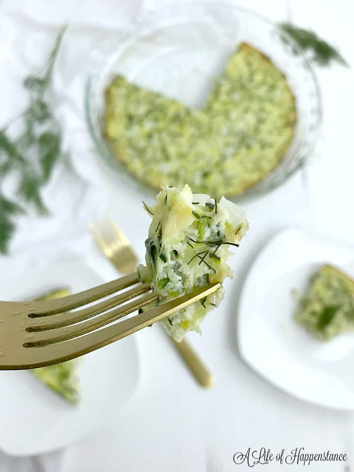 A forkful of quiche.